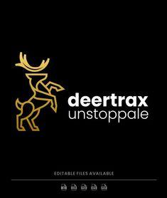 Deer Line Art Logo Template PSD, AI, EPS Art Logo, Logo Templates, Line Art, Deer, Line Drawings, Line Illustration, Stripes, Reindeer