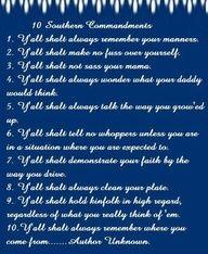 10 SOUTHERN COMMANDMENTS