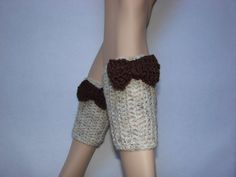 Oatmeal Crochet Boot Cuffs with brown bow boot by OtiliaBoutique, $25.00