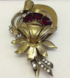 Vintage 1940's R. DeRosa Sterling Gilt Fur Clip Ruby & Crystal Rhinestones #RalphDeRosa