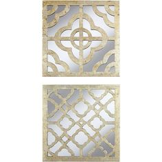 "Set of 2 Geo Lattice 18"" Square Wall Art (4.485 RUB) ❤ liked on Polyvore featuring home, home decor, wall art, gold leaf wall art and lattice wall art"