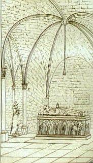 1142-Tombeau d'Abélard au prieuré clunisien de Saint-Marcel lès Chalon, vidé en 1144