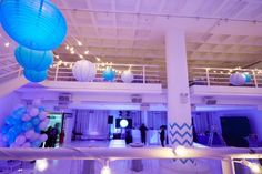 Purple & Blue Chevron Bat Mitzvah Party at 404 NYC Loft Space {Party Planner: Florie Huppert Design, Photography by 5th Avenue Digital} - mazelmoments.com