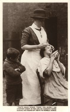 A Queen's district nurse teaching hygiene to rural children, ca. 1927. Pictures of Nursing: The Zwerdling Postcard Collection. National Library of Medicine