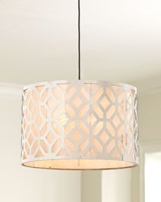 "Horchow ""Geometric"" Pendant Lights Stainless steel fretwork-style pendant lights are available in two different sizes. Large pendant light, x cord. Modern Chandelier, Chandelier Lighting, Chandeliers, Kitchen Chandelier, Metal Chandelier, Dining Room Lighting, Home Lighting, Kitchen Lighting, Lighting Ideas"
