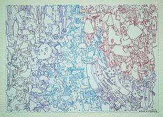 """ELA :: Ela y sus vecinas. Lámina realizada durante los ensayos del grupo de música ELA, durante el año pasado. Dibujo expuesto en el evento """"Ela y sus vecinas"""". Centro cultural La Alborada, La Plata, Buenos Aires. Noviembre 2012. Hero, Illustration, Medusa, Ph, Cultural Center, November, Past Tense, Buenos Aires, Group"""