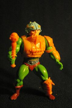 "The classic action figure of He-Man's friend and confidante Man-At-Arms (a.k.a. Duncan), from the original 1982 series of the ""Masters of the Universe"" toys"