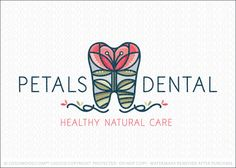 Logo for sale: lovely, whimsical dental logo design featuring a molar tooth shape that's created with a single blossoming flower growing on top of a hill.