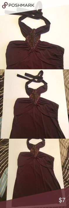 Brown beaded flowy halter top!! Dark Brown flowy halter top! Very dressy and classy with the beaded neck piece!!! Women's size Medium !! Tops Tank Tops