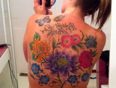 Full floral back tattoo
