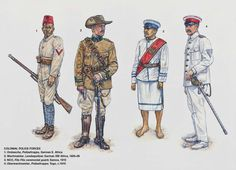 COLONIAL POLICE FORCES:  1: Ombascha, Polizeitruppe, German E. Africa; 2: Wachmeister, Landespolizei, German SW Africa, 1905–09; 3: NCO, Fita Fita ceremonial guard, Samoa, 1910; 4: Oberwachmeister, Polizeitruppe, Togo, c.1910