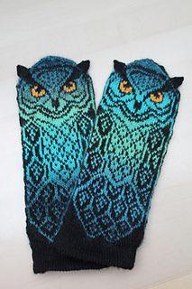 Ravelry: lindsaymudd's Long Eared Owl Mitts Crochet Mittens, Mittens Pattern, Knitting Socks, Knit Crochet, Double Knitting Patterns, Knit Art, Fingerless Gloves Knitted, Summer Knitting, Crochet Crafts