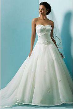 A-line Sweatheart Satin Organza Wedding Dress