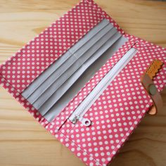 """Bifolded Long Wallet : Red Dots. SOLD      === Features ===     approx. : 8"""" x 4"""" folded      Total of 11 pockets      + 8 ca..."""