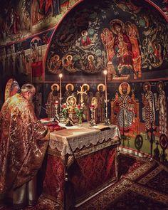 Holy vigil at the Holy Virgin Monastery in Dovra Veria Ιερά Μονή Παναγίας Δοβρά #monastery #greekorthodox #orthodox #christian #church #liturgy #Greece #greek #deacon #priest #monk #god #religion #jesus #architecture #byzantine #art #lifestyle #naousa #holy #saint #gopro #sony #sonya7s #sony #autumn #candle #rain #raining #sky by paulos_papa