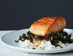 Crispy Coconut Kale with Roasted Salmon and Coconut Rice Recipe - I doubled the sauce and added it after 15 minutes, then broiled for a couple minutes - delicious! Salmon Recipes, Fish Recipes, Seafood Recipes, Cooking Recipes, Salmon Meals, Food52 Recipes, Salmon Food, Salmon Dinner, Cooking Fish