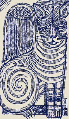 ВКрылатый кот из Sketchbook два, Q. Кассетти, 2010, Sharpiesо вторник пятница - Q.Cassetti