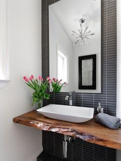 Jodie Rosen Design: Incredible bathroom design with live edge wood slab sink console. A modern white vessel . I'm a sucker for anything made from live edge wood Modern Powder Rooms, Modern Room, Modern Sink, Modern Spaces, Bad Inspiration, Bathroom Inspiration, Interior Inspiration, Powder Room Design, Live Edge Wood