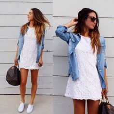 Alyssa Melendez - Forever 21 White Lace Mini, Topshop Denim Button Down, Vans Sneakers, Louis Vuitton Speedy 35 - Summer Sneakers My Beauty, Textiles, Cute Outfits, Spring, Casual, How To Wear, Clothes, Dresses, Style