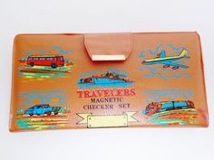 Vintage Travel Magnetic Checkers Set 1960's Wallet Colored Planes Trains auto's