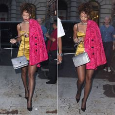 Rihanna in Marc Jacobs Resort 2015 yellow tank dress and pink fur coat, Marc Jacobs Fall 2014 Ostrich Trouble silver chain strap handbag, Manolo Blahnik suede BB pumps, Lynn Ban chain choker, gash ring, vortex ring