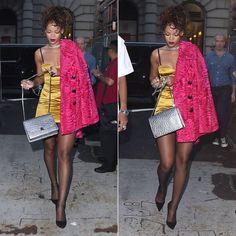 Rihanna in Marc Jacobs Resort 2015 yellow tank dress and pink fur coat, Marc Jacobs Fall 2014 Ostrich Trouble silver chain strap handbag, Manolo Blahnik suede BB pumps, Lynn Ban chain choker, gash ring, vortex ring