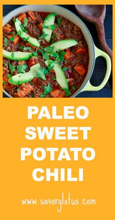 I used 1 large red and 1 large white sweet potato. I added celery and used 4 cups chicken broth instead of 2 and omitted cinnamon. BEST CHILI EVER!!