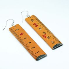Found Object Jewelry- Upcycled Folding Ruler Long Earrings via Etsy