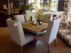Burlap Upholstered Dining Chairs and Reclaimed Wood and Metal Dining Table @ Pacific Design Group - Sacramento Interior Design Showroom #pdginteriors #DiningRoom