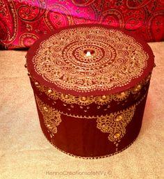 Maroon Wine Bangle Jewelry Box with Intricate Lotus Henna Design and Golden Gemstones by HennaCreationsofeNVy on Etsy