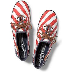 Keds Champion Patriotic ($55) ❤ liked on Polyvore featuring shoes, sneakers, runners, red stripe stars, summer shoes, summer sneakers, keds shoes, keds sneakers and star shoes