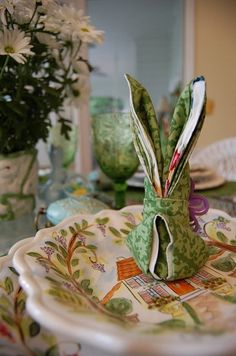 Between Naps on the Porch: Bunny Rabbit Napkin Folding Tutorial: Great for Easter or a Springtime Tablescape