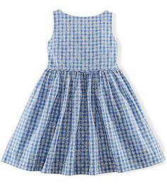 NWT Ralph Lauren Girls Gingham Poplin Sleeveless Dress #RalphLauren #Dressy