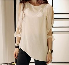 Free shipping 2014 summer new Hot European and American fashion simple chiffon irregular round neck T-shirt temperament $15.99