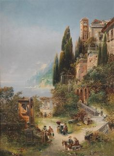 Robert Alott (Graz 1850-1910 Vienna) At Lake Garda