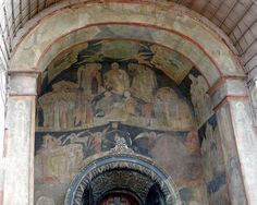 Moscow Archangel Michael Cathedral entrance. Victories of the Russian military were celebrated in the Cathedral of the Archangel. All Russian Tsars & Grand Princes were buried in the Cathedral until the time of Peter I the Great. The sole exception is Tsar Boris Fyodorovich-Feodorovich Godunov (c.1551- 23 Apr 1605) Russia & his family, probably because he took the throne instead of honoring the centuries long Rule of Inheritance by the prior ruler's family line.