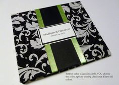 Lime Green Black and White Wedding Guest Book by lovebirdbooks, $42.00