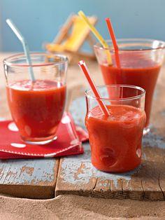 Pfirsich-Himbeer-Smoothie - Sommerliches Getränk mit Himbeeren und Pfirsichen