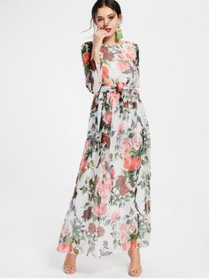 Floral Print Long Sleeve Belted Maxi Dress - WHITE S