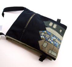 Handmade shoulder bag with applique #bag #purse #messenger #felt #applique #novelty #cotton #pouch #house #home #black #grey #green #beige #art #architecture $50.00