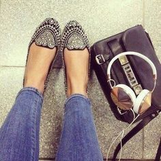 Black Loafers with silver pearls