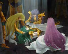 Pick up the fallen. Athena and Gold Saints after the fight, shaka, Milo, Aioria, Aldebaran, Mu and Camus.