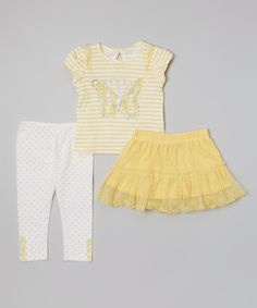 Look at this Yellow Stripe Butterfly Top Set - Infant & Toddler on #zulily today!