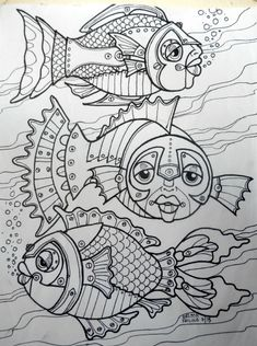 steampunk coloring pages Doodles Zentangles, Zentangle Patterns, Coloring Book Pages, Coloring Sheets, Art Textile, Fish Art, Doodle Art, Art Lessons, Bunt