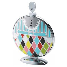 "Amazing Alessi ""Fatman"" Folding Cake Stand in 18/10 Stainless Steel Mirror Polished With Decoration, Multicolor"