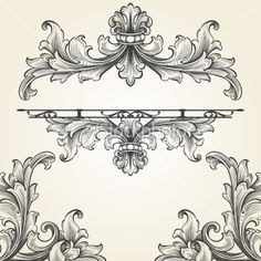French Acanthus Engraving Set Royalty Free Stock Vector Art Illustration