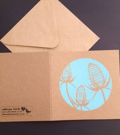 Teasel. Hand pulled screen printed card by CornishBirdDesigns £2.50. By Alison Bick