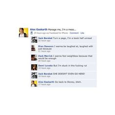 All Time Low vs. Demi Facebook convo :D - Tumblr ❤ liked on Polyvore featuring all time low, quotes, atl, funny, pictures, text, phrase and saying