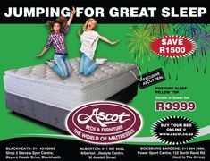 WE ARE JUMPING FOR GREAT SLEEP WITH OUR AMAZING PROMOTIONS ONLY AT ASCOT BEDS AND FURNITURE.  POSTURE SLEEP PILLOW TOP DOUBLE OR QUEEN SET R3999 SAVE R1500 ***E&OE ******Valid while stocks last ***Valid at all Ascot Beds & Furniture stores ***Prices excluding delivery fees and other extras ***excluding accessories  💻 www.ascot.co.za  Please visit our website for more information on the product ranges and additional information regarding our business should you need it…