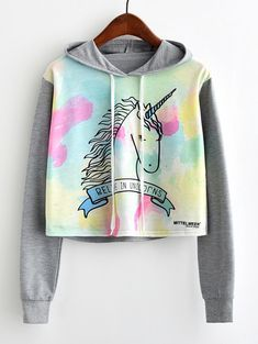 Shop Unicorn Print Contrast Sleeve Hoodie EmmaCloth-Women Fast Fashion Online